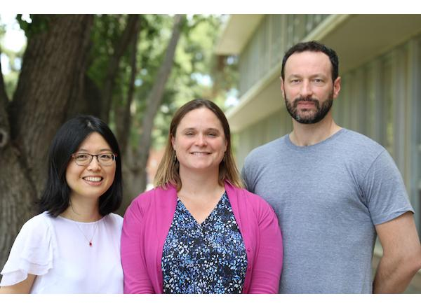 Xiaoli Dong and Frances C. Moore, who are both assistant professors in the Department of Environmental Science and Policy at UC Davis, with Marc N. Conte, an associate professor in the Department of Economics at Fordham University, outside Wickson Hall at UC Davis. (UC Davis Photo)