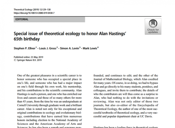 Article screenshot of Special issue of theoretical ecology to honor Alan Hastings' 65th birthday