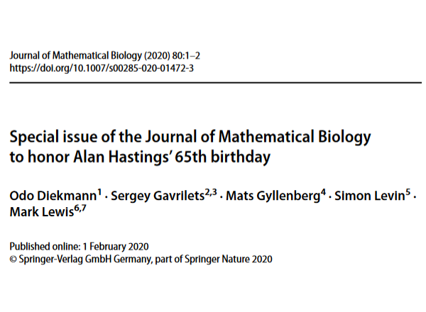 Special issue of the Journal of Mathematical Biology to honor Alan Hastings' 65th birthday